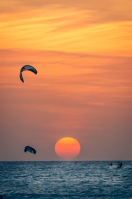 Sunset kite board session