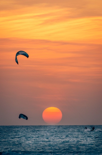 Sunset kite board session