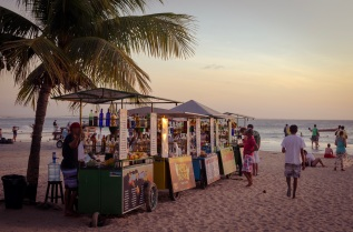 Cocktail carts lining the beach