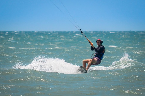 Hannes' first kite surf runs