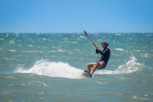 Hannes' first kite surf runs