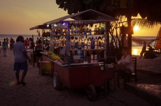 Cocktail cart at sunset